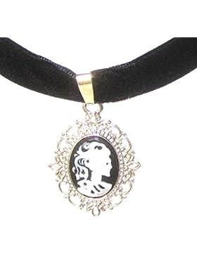Gothic Samt Kropfband Choker schwarz mit Skull Medaillon 35cm von Meiner Glitzerwelt