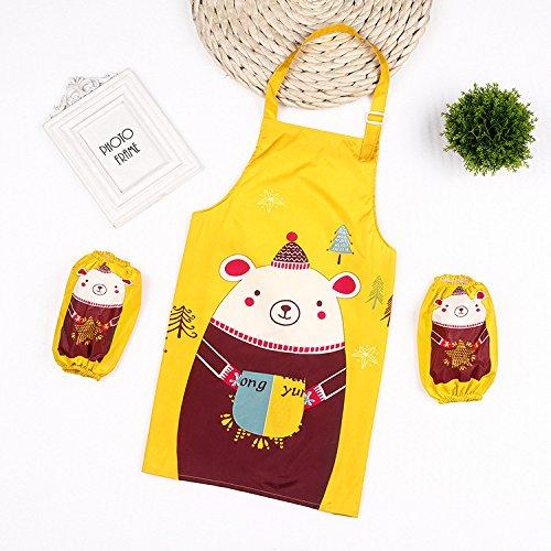SunnyGod Hausfrau-Schürze Animals Printed Schürze Anzug - Waterproof Schürze mit Ärmeln (gelb)