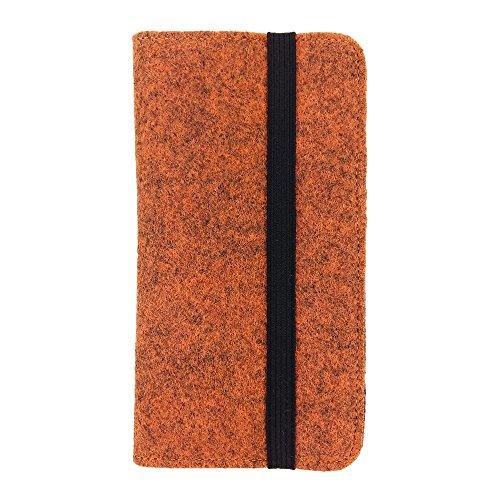 handy-point Universell Organizer für Smartphone Tasche aus Filz Filztasche Filzhülle Hülle Schutzhülle mit Kartenfach für Samsung, iPhone, Huawei (5,6-6,4 Zoll max 18x9,3cm, Melange: Orange)