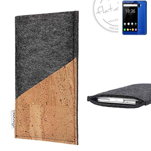 flat.design Handy Hülle Evora für Oukitel K8000 handgefertigte Handytasche Kork Filz Tasche Case fair dunkelgrau
