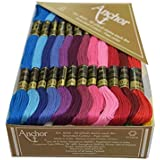 Anchor Stranded Cotton Assorted Skeins Fast color-4624-02222 (50 Skiens, 2 shades each of 25 shades -8m)