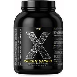 base X nutrition, WEIGHT GAINER, Protein / Kohlenhydrate Eiweissshake, das Optimum für schnellen Gewicht- u. Muskelaufbau, 750g Dose Schoko