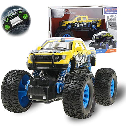 Coolplay Alloy Pull-Back-Off-Road-Kletterwagen Monster Truck Cross Road Allradklettern mit Feder Gelb and Blau (Monster Trucks Monster Energy)