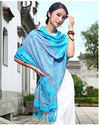 """Cloud-Y Elegante Echarpe Chale/ Foulard-Imprime-Femme Style Ethnique Motif Floral/ Taille:70.87""""x 27.56"""" Bleu Lac"""