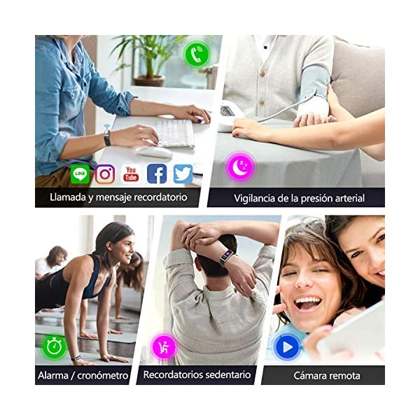 LOZAYI Pulsera de Actividad, Pulsera Actividad Inteligente, IP67, Reloj Inteligente para Mujer y Hombre, con Pulsómetro… 6
