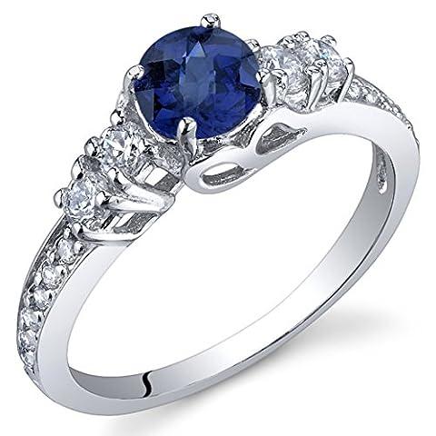Revoni Damenring 925 Sterlingsilber Saphir blau-0.75 Karat Größe 56