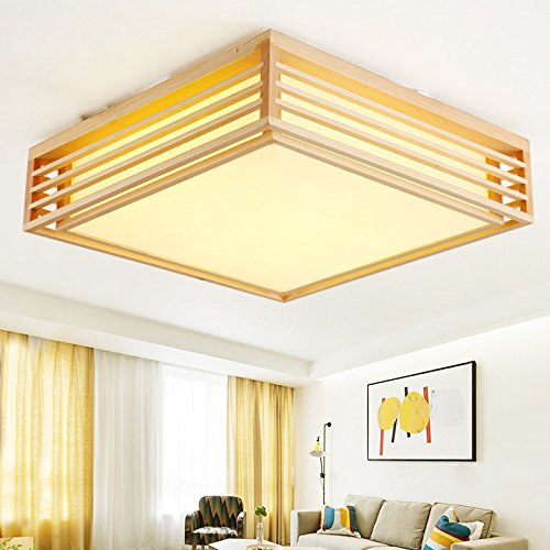 Ceiling Light Japanese: GQLB Solid Wood Square Ceiling Light Japanese Straw Tatami