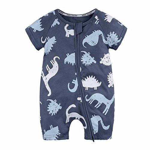 Byste body bambino neonato pigiama manica corta dinosauro stampa cerniera romper tuta pagliaccetto (marina militare, 12 mesi)