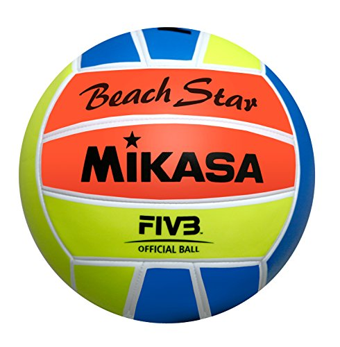 Mikasa, Pallone da beach volley Beach Star, Multicolore (Neonfarben), 5