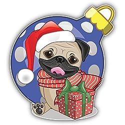 Pegatina de Vinilo Christmas Pug Dog