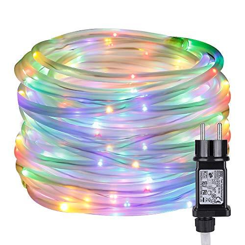 LE Cadena LED de Luces RGB Exteriores, 10m 100 LED 8 modos Temporizador, Resistente al agua, Guirnalda Luces Multi Colores para casa, jardín, navidad etc