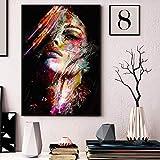 tzxdbh Bunte Gesicht Mädchen abstrakte Wandkunst Leinwand Malerei Moderne Poster und Druck Ölgemälde Wohnzimmer dekorative Malerei, Familie und Garten Kalligraphie Werke   Pinkoi 50x75cm kein Rahmen