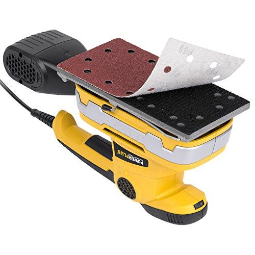 330 Watt Schwingschleifer 115 x 230 mm Schleifmaschine Vibrationsschleifer mit Staubfangsystem Schnellwechselsystem Hook & Loop Papierklemmsystem