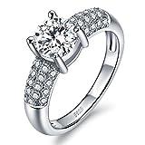 Or Blanc Bagues Femmes Argent 925 Swarovski Zirconium Diamant Fiancailles Taille 50 - 66 Optional