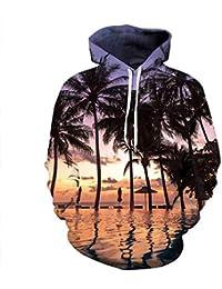 Blwz Unisex 3D Coconut Tree Imprimir Hoodies,Hombres Mujeres Pullover Pareja Ocio Al Aire Libre Sudaderas Jerseys…