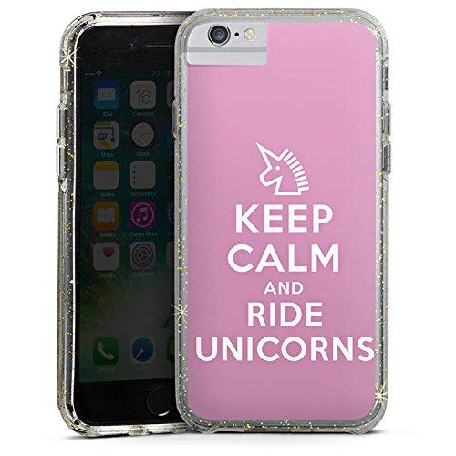 Apple iPhone 7 Bumper Hülle Bumper Case Glitzer Hülle Einhorn Unicorn Sprüche Geschenk Bumper Case Glitzer gold