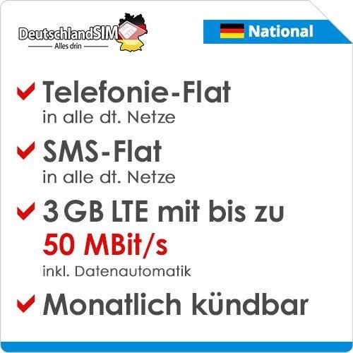 DeutschlandSIM LTE 2000 National [SIM, Micro-SIM und Nano-SIM] monatlich kündbar (9,99 Euro/Monat, 3 GB LTE mit max. 50 MBit/s inkl. Datenautomatik, Telefonie-Flat, SMS-Flat)