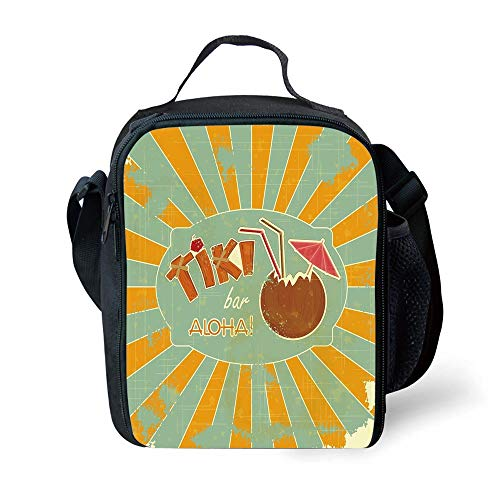 ZKHTO School Supplies Tiki Bar Decor,Vintage Design Exotic Cocktail Aged Look Aloha Fun Party Decorative,Orange Almond Green Brown for Girls or Boys Washable