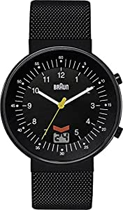Braun Men's Quartz Watch with Black Dial Analogue Display and Black Stainless Steel Strap