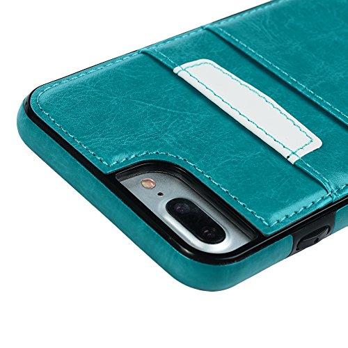 Mavis's Diary Coque iPhone 7 Plus (5.5'') Étui Housse de Protection PU Cuir + TPU Silicone Intérieure Dessin Coloré en Cuir Gaufré Antirayure Antichoc Coque Capotage Support Wallet et Carte Cran de Pr Bleu