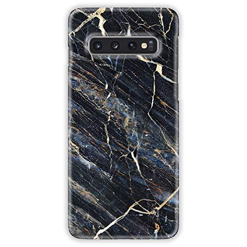 TheSmartGuard Hülle kompatibel für Samsung Galaxy S10 Hülle Marmor Marble Schwarz Blau Creme Hard-Case Schutzhülle aus Kunststoff Cover