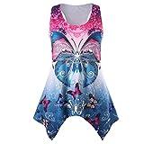 OverDose Damen Sommer Ärmellos Bluse Mode Frauen Bandagen Sleeveless Weste Spitze Schmetterling Strappy Print Tank Tops T Shirt Oberteile(Z-rot3,S)