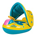 VORCOOL Baby Children's Swimming Circle Inflatable Boat with Loudspeaker Sun Block Water Toy