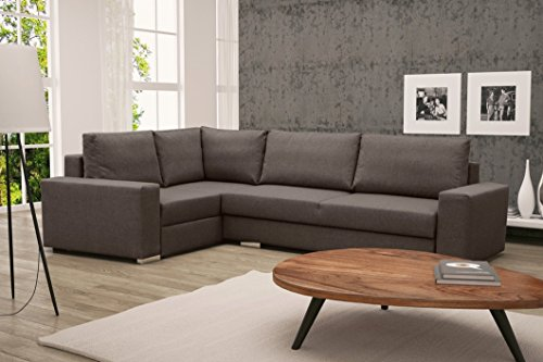 Furnistad - Ecksofa LUCY Mit Schlaffunktion Und Bettkasten (Braun, Option links)