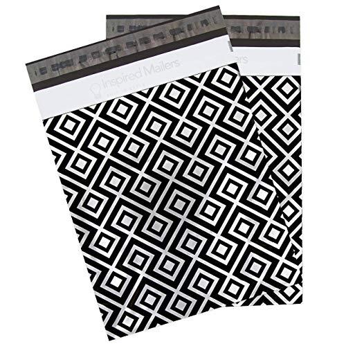 Poly Mailers Briefumschläge, 6 x 9, 10 x 13 oder 14,5 x 19 cm, Tribal-Muster, Lila oder Schwarz, 100 Stück 10x13 - Pack of 100 Geometrics