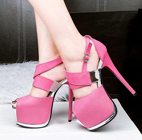 Wealsex stiletto high heels damen sandalen plateau Pink