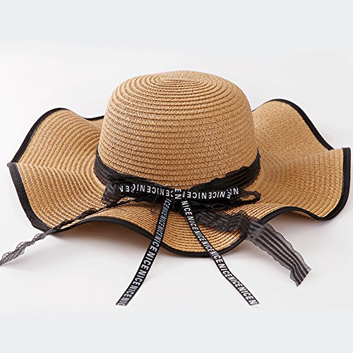 XBR Summer sunscreen hat, lady summer outdoor sunshade letter ribbon sun hat