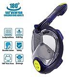 LeaningTech 3nd Generation 180° Full Face Snorkel Mask- panoramico vista Snorkel Mask per adulti , Anti nebbia Anti-Leak Boccaglio Maschera per GoPro SJCAM ( blu S/M)