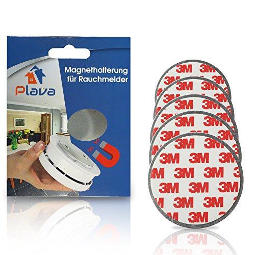 PLAVA 5X Rauchmelder Magnethalter - 3M Magnetbefestigung für Rauchmelder 5 Stück - Schnelle und sichere Montage - Extra Starke Magnethalter für Rauchmelder - Magnethalterung Rauchmelder