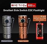 Klarus Mi1C Ti kleinste Seite Schalter CREE XP-L Hi V3 LED EDC Taschenlampe 600LM mit Micro USB Charging 16340 Akku Mini Taschenlampe(Titan)