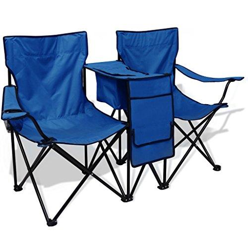 vidaXL Doppel-Campingstuhl Klappstuhl Faltstuhl Gartenstuhl 155x47x84 cm Blau