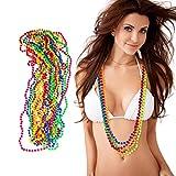 Relaxdays 10024367 Set di 12 collane di perle colorate Neon, catena hippy, accessori per costume, anni '80, festa a tema, carnevale, 6 colori, Unisex - Adulto