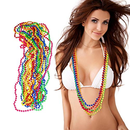 Relaxdays 10024367 12er Set Bunte Perlenkette Neon, Hippiekette, Kostüm-Accessoire, 80er Jahre Motto-Party, Karneval, 6 - Rave Motto Party Kostüm