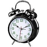 Hama analoger Nostalgie Wecker, Glockenwecker (lauter Alarm, Quarzlaufwerk, selbstleuchtender Stunden- und Minutenzeiger, Hintergrundbeleuchtung) schwarz