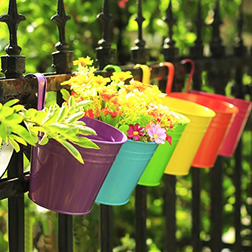 Colleer - fioriera pensile, per casa, giardino, forniture per decorazione di interni ed esterni, in ferro, stile pastorale, vaso da appendere a balcone o parete, vaso a secchio.