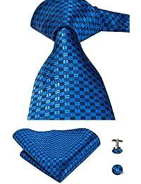 CAOFENVOO Cravate Hanky Cufflinks solides Jacquard en soie tissée cravate de soirée de mariage une affaire d'hommes