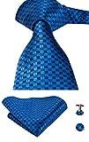 Set Hi-Tie de pañuelo y corbata de seda y de gemelos, con diseño de cuadros, para hombre Azul azul