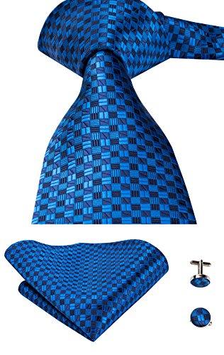 Hi-Tie, Seiden-Krawatte für Herren mit Manschettenknöpfen und Taschentuch Gr. One size, blau