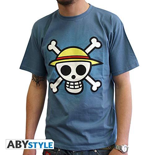 ABYstyle - ONE PIECE - Camiseta - Craneo con mapa - Hombre - Blu (M)