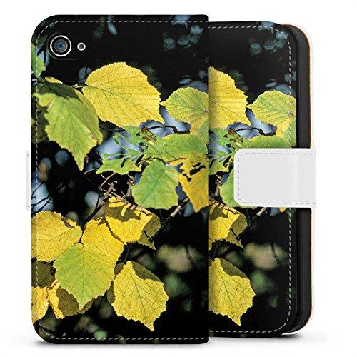 Apple iPhone X Silikon Hülle Case Schutzhülle Blätter Herbst Birke Sideflip Tasche weiß