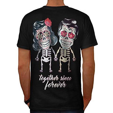 Mignonne Skeletons Intemporel Amour Homme NOUVEAU Noir M T-shirt Reverse