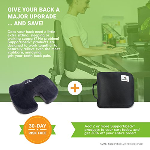 Supportiback® Orthopedic Memory Foam Office Chair and Car Seat Coccyx Cushion for Lower Back Pain, Tailbone Pain and Sciatica Relief – Medically Proven Ergonomic Lumbar Support with Innovative Gel-Enhancement – Portable Ergonomic Chair Seat Pad for Office, Home, Car, Pregnancy, Auto Seat, Airplane, Bus, Wheelchair, Stadium & Travel