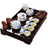 Best Ceramic Kung Fu Juego de té Azul y negro Flor Con bandeja de té