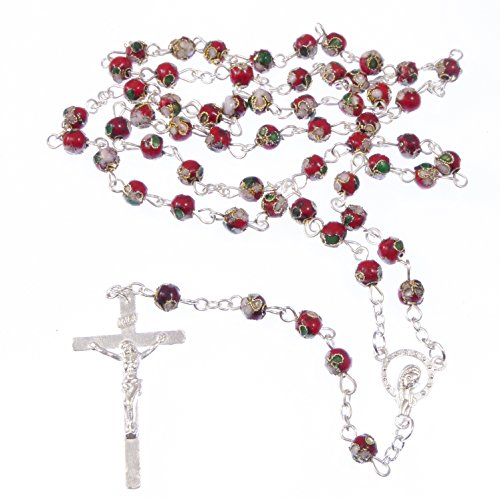 Catholic-red-green-white-cloisonne-rosary-beads-silver-colour-chain-crucifix