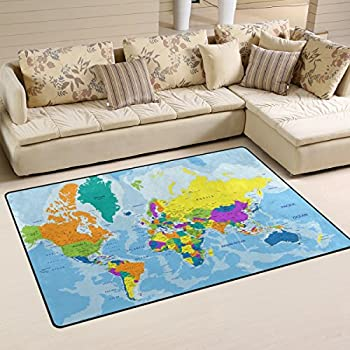 World map rug our world atlas amazon kitchen home jstel ingbags super soft modern highly detailed world map area rugs living room carpet bedroom rug for children play solid home decorator floor rug and gumiabroncs Image collections