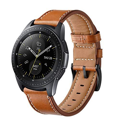 Aimtel für Samsung Galaxy Uhr (42mm) Armbänd, 20mm Lederarmband Handgelenk Ersatz Band Edelstahl Verschluss für Samsung Galaxy Watch SM-R810/R815 Smart Watch(Braun)